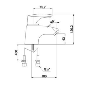 Р0091 Смеситель для раковины Uta 0091 F Chrome