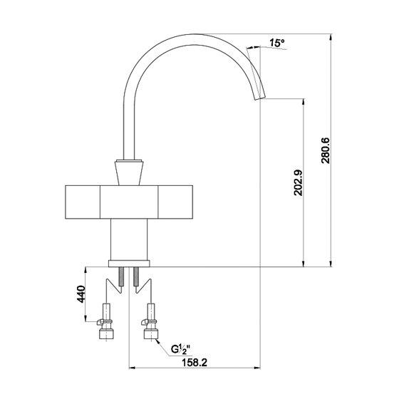 К0173 Смеситель для кухни Tetra 0173 F Chrome