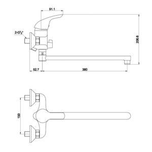 В0175 Смеситель для ванны Golf 0175 Y Chrome (длин. излив. комплект)