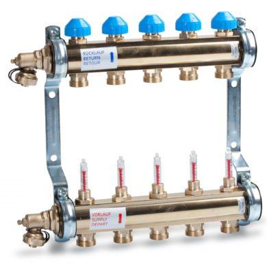 """Коллектор 1"""" для напольного отопления с расходомерами HKV/T 2вых - 3/4"""" (в сборе) Watts"""