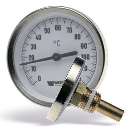 Термометр биметаллический с погружной гильзой c уплотнением на штоке F+R801 SD 63mm 0-120°C Watts