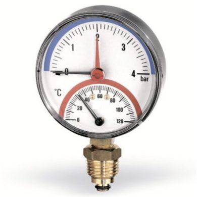 Термоманометр радиальный F+R828 80мм, 0-10 бар 0-120С Watts (50/1)