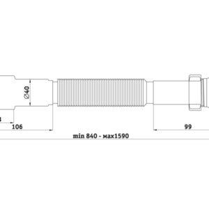 "Сифон-ГОФРА 1 1/4""х40/50 винт 85 мм (800-1500 мм) АНИ пласт (50/1)"