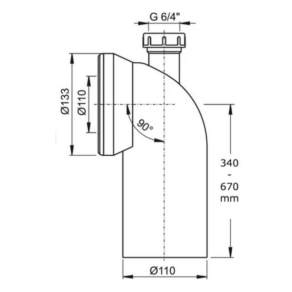 Колено для унитаза 90 гр с присоединением D40-2