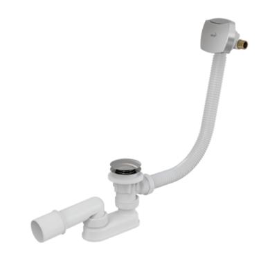 Сифон для ванны click_clack с напуском воды через перелив, металл – хромированный пластик