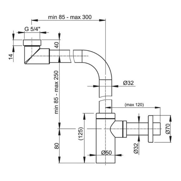 Сифон хром с н_г 5_4″ DESIGN латунь AlcaPlast экономящий пространство2