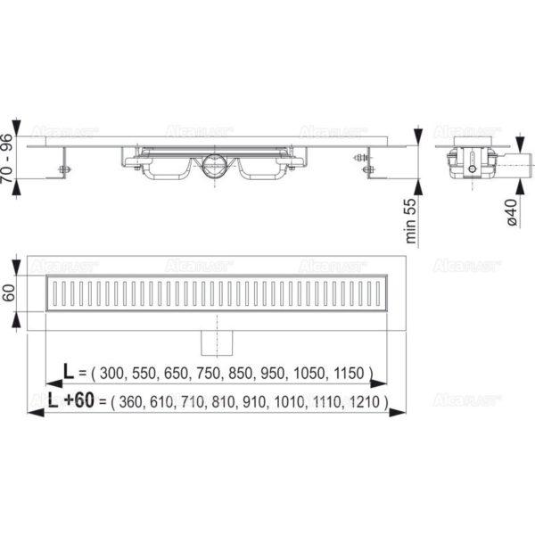 Водоотводящий желоб APZ101- 750 Alca2